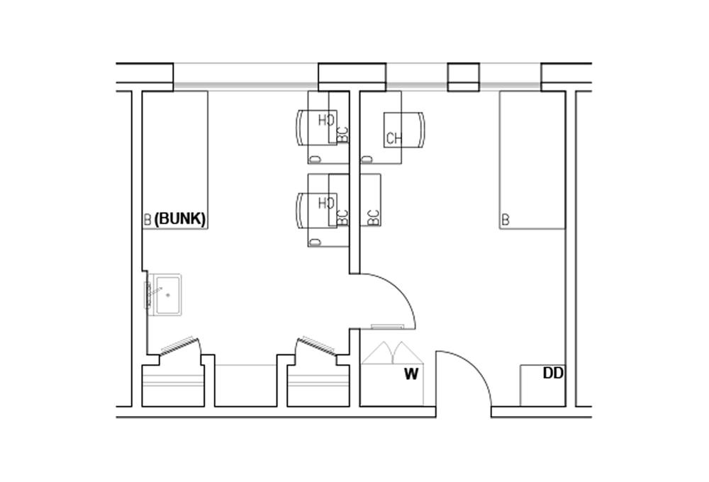 A - 2-room triple