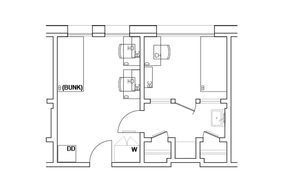 B - 2-room triple