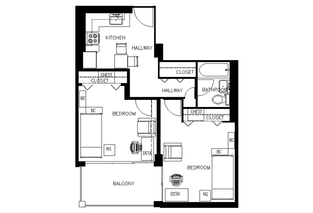 Escondido Village Midrise - Two-bedroom, One-bath Efficiency Apartments, available for single students in McFarland