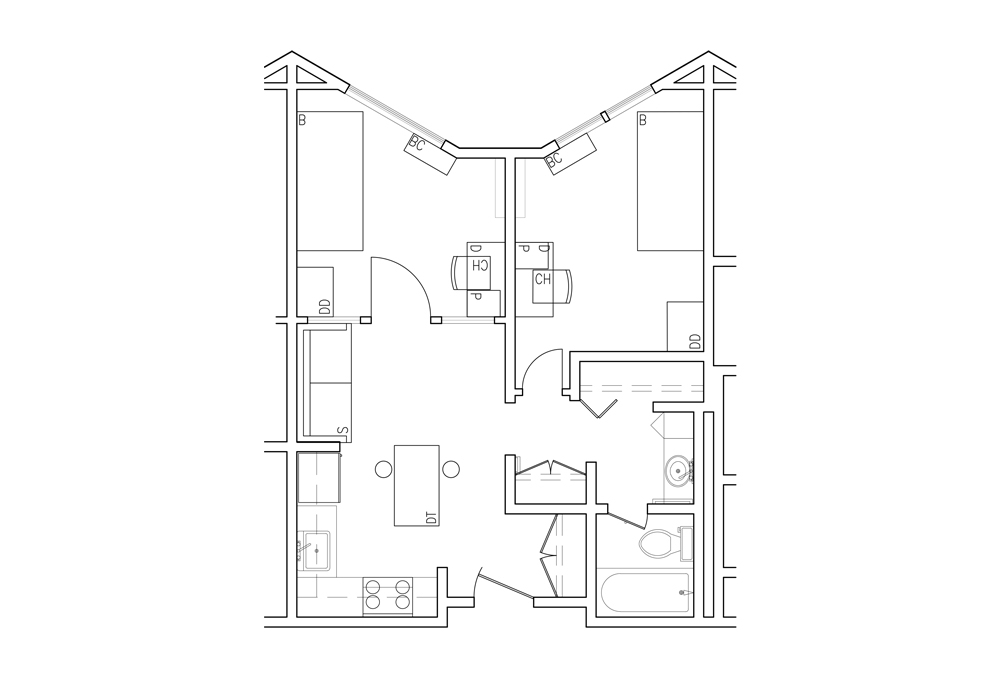Two-room Double Apartment - Top View