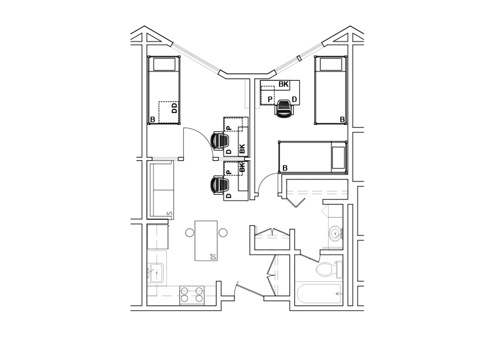 Two-room Triple Apartment - Top View