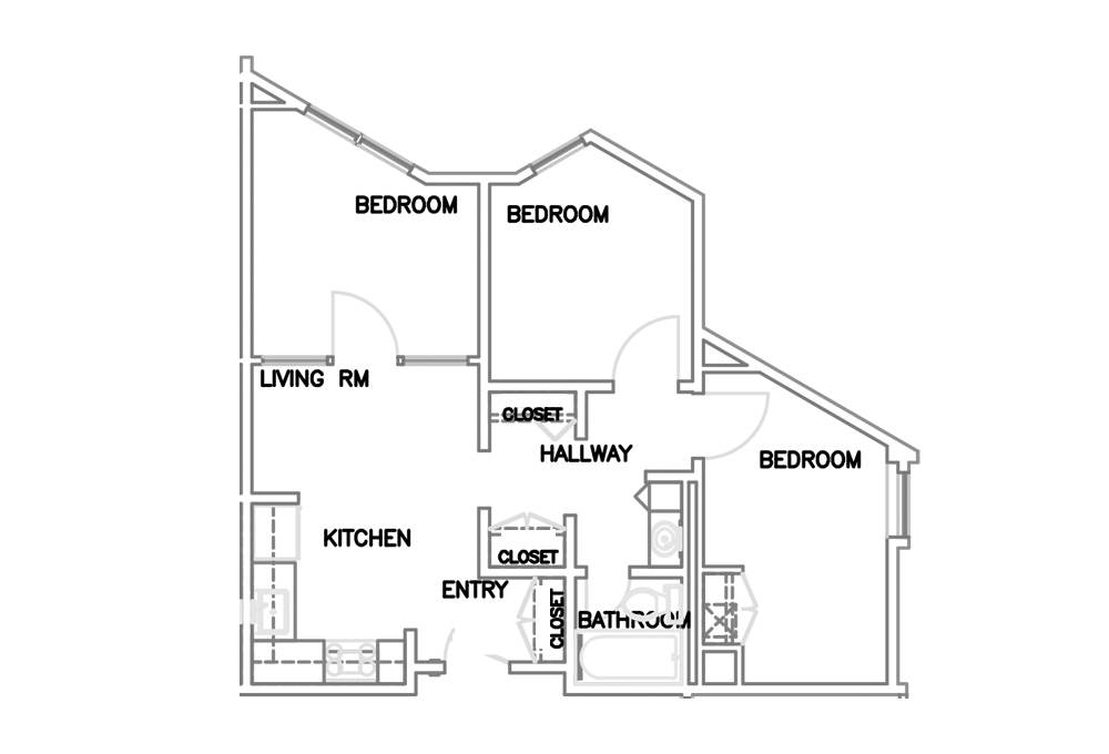 Three-room Triple Apartment - Top View