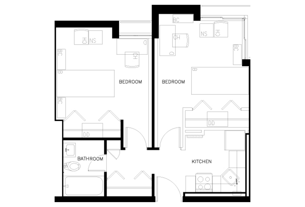 Escondido Village Highrise - Two-Bedroom Efficiency Apartment Floor Plan