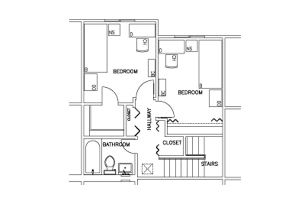 Escondido South - 2-Bedroom - Second Floor Floor Plan