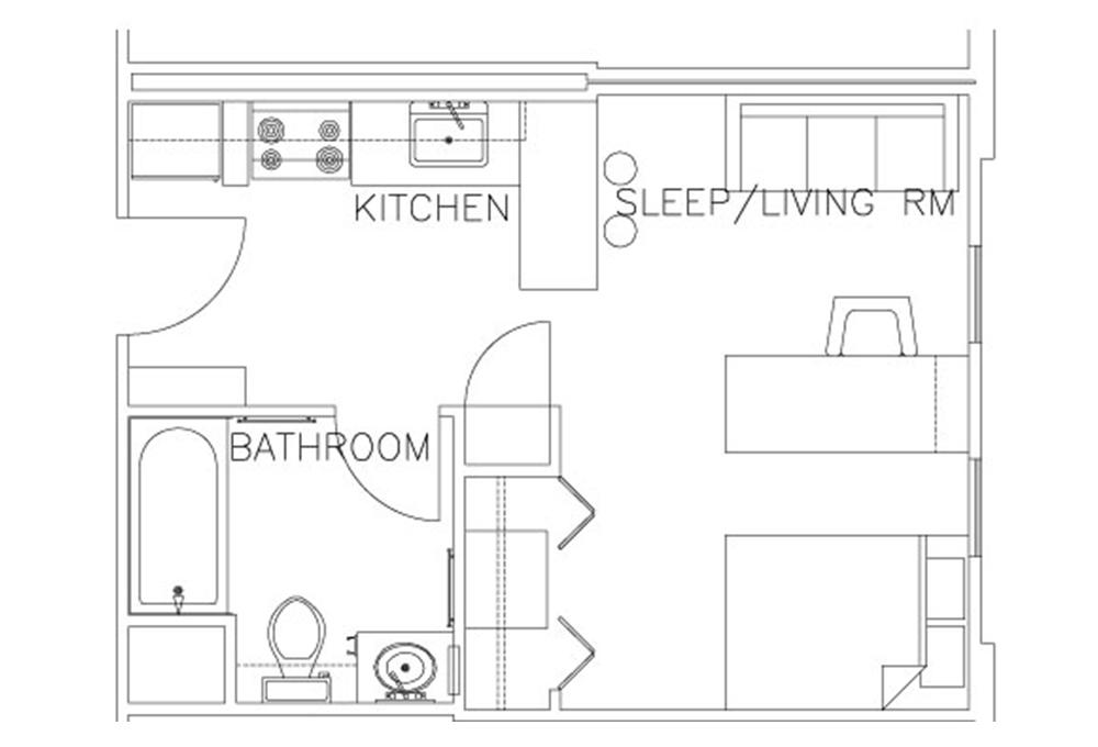 Escondido Village Studios Floor Plan
