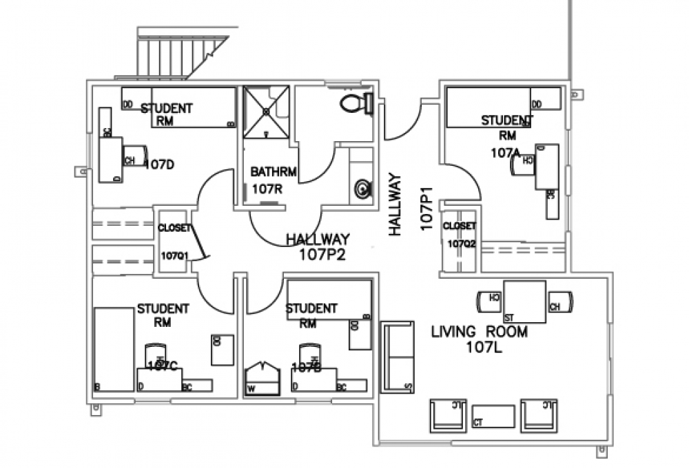 4-person suite- Top view