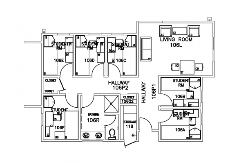 6-person suite- Top view