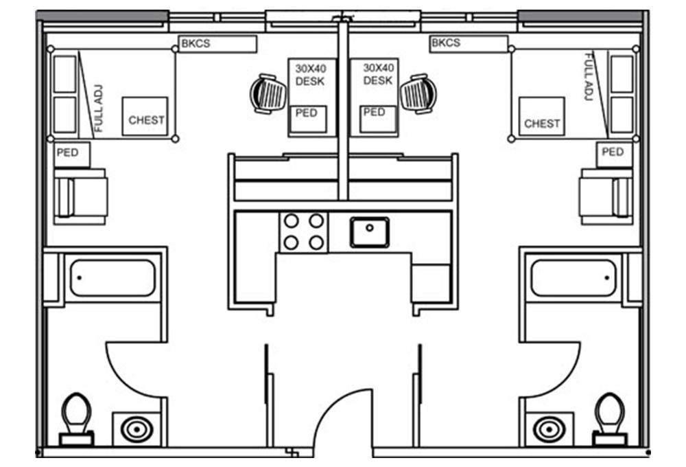 Kennedy Junior Studio Apartment with shared kitchen Floor Plan
