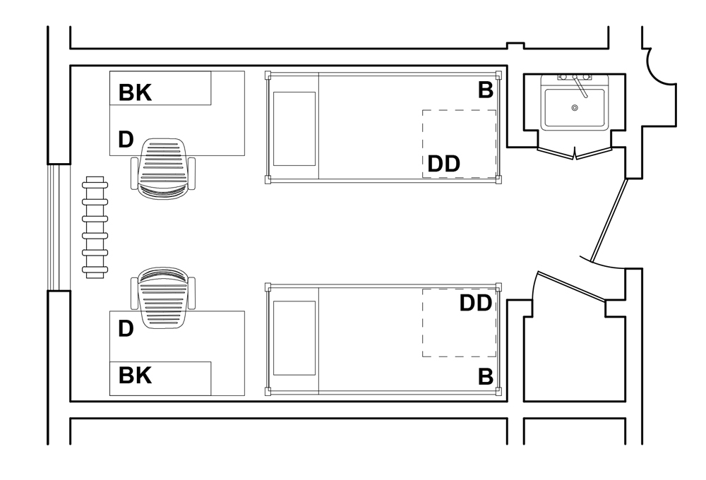 Double Room 1 - Top View