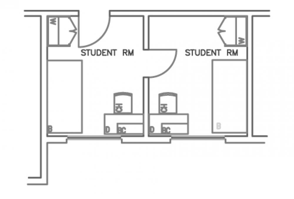 2-Room Double - Top View