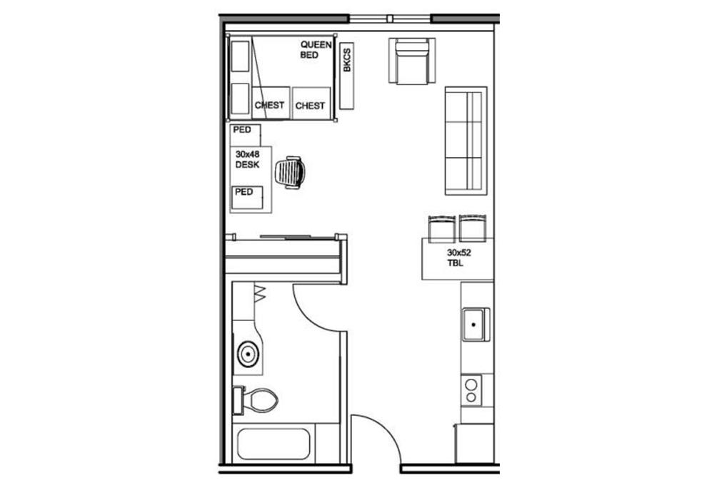 Kennedy Premium Studio Apartment Floor Plan