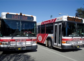 Two Marguerite shuttle buses parked side by side