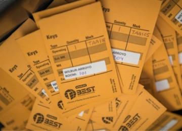 Envelopes holding keys for summer check-in