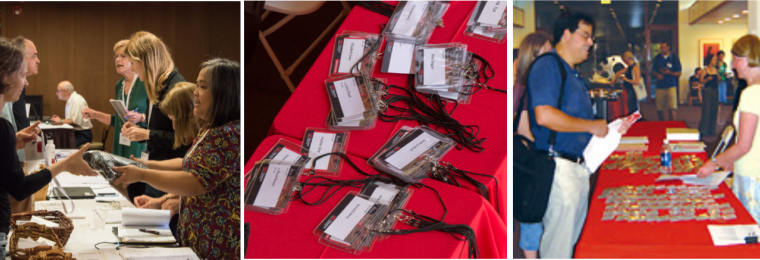 Registration managers attending to participants and branded nametags