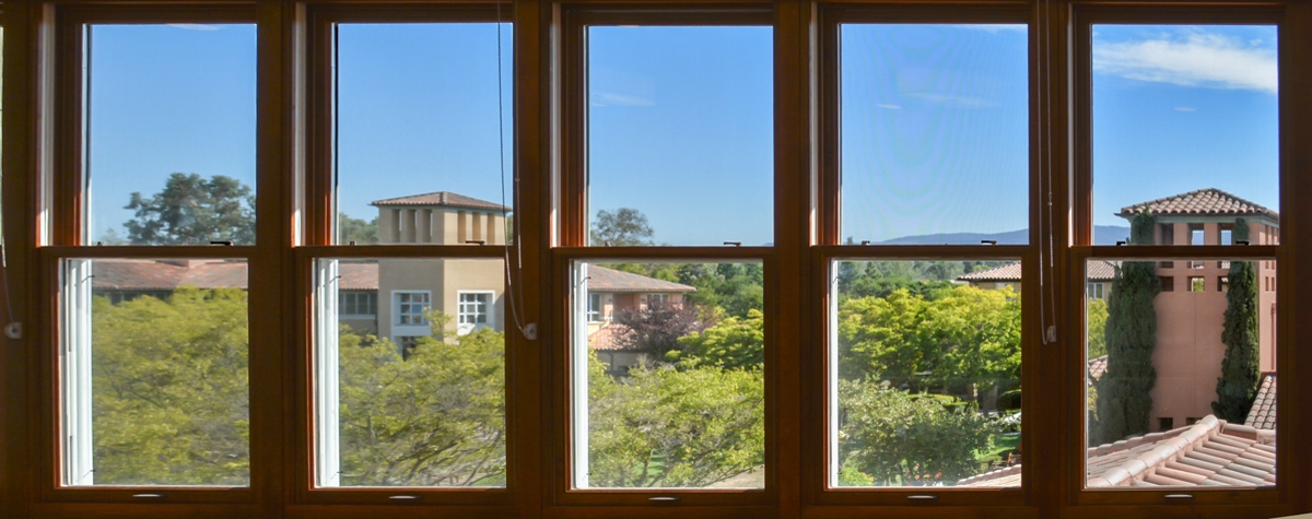 view of Manzanita Park from Humanities House third floor lounge