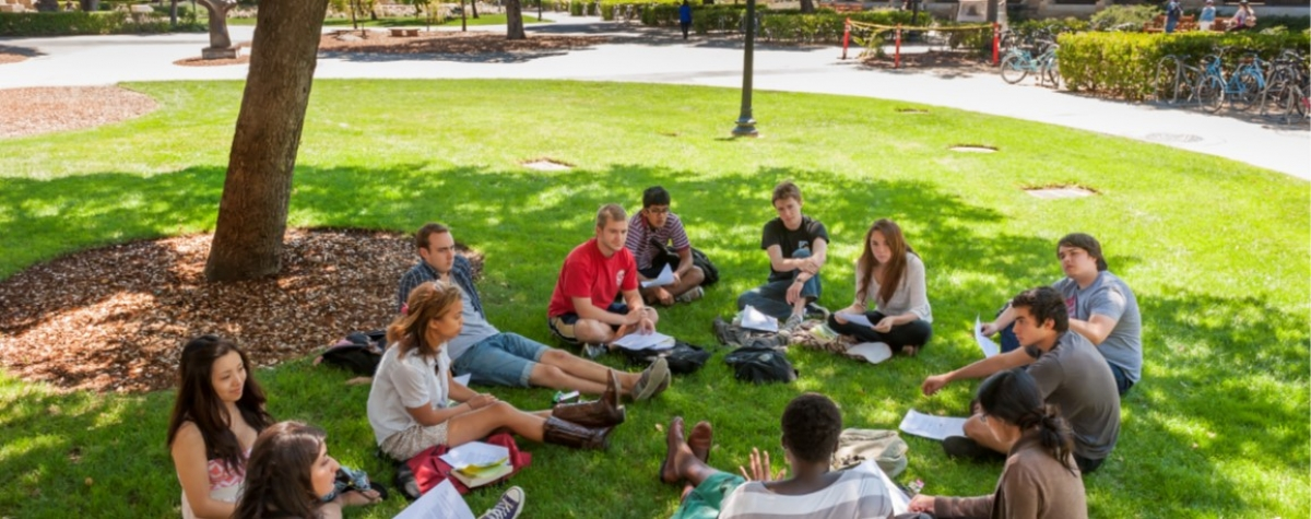 Students meeting in the campus lawn. Photo by Linda Cicero / University Communications