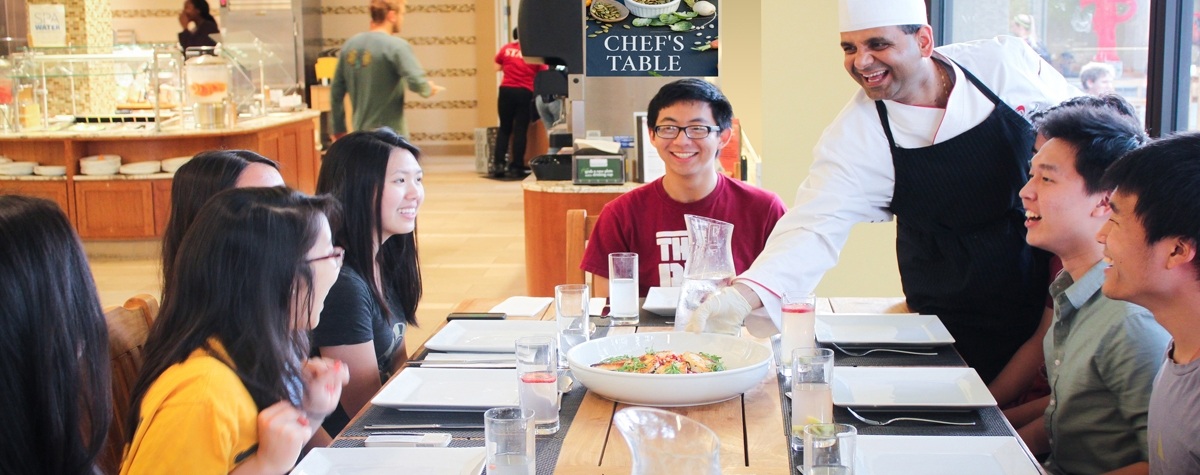 Students served lunch at the Florence Moore Chef's Table